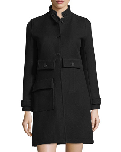 Stand-Collar A-Line Coat