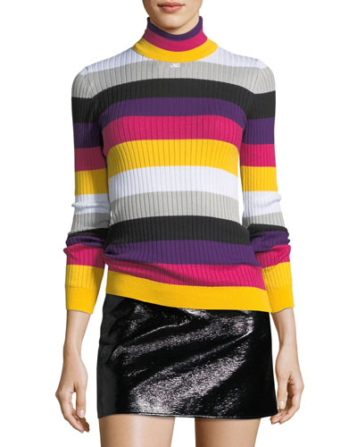 Colorblock Ribbed Knit Turtleneck Top