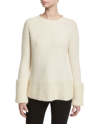 Wide Gauge Crewneck Sweater, White