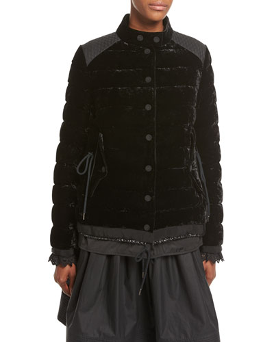 Beatrice Velvet Quilted Coat, Black