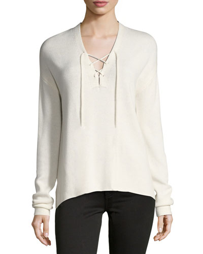 Larken Lace-Up Pullover Sweater, White