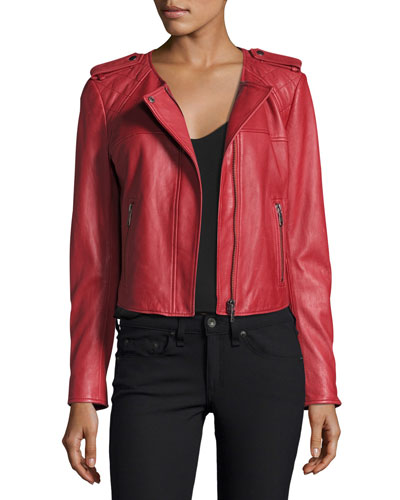 Koali Leather Jacket, Red