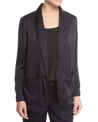 Anasophia Sateen Single-Button Jacket, Navy