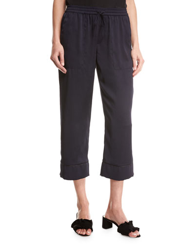 Anelise Sateen Drawstring Pants, Navy