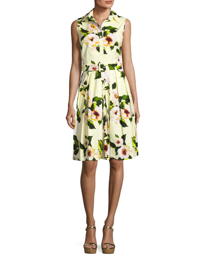 Audrey Paisley-Print Sleeveless Shirtdress, Yellow