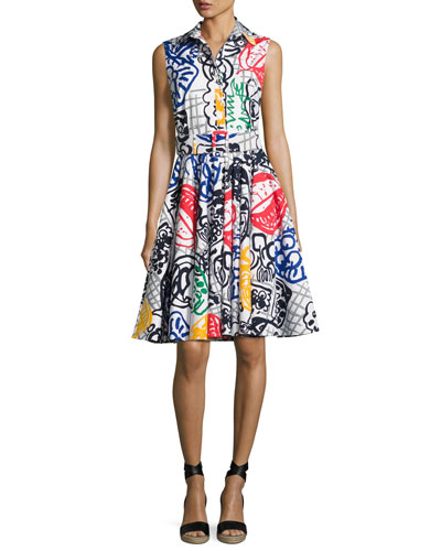 Gigi Graffiti-Print Belted Shirtdress