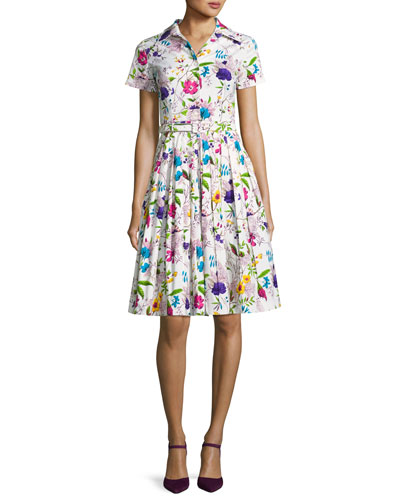 Avery Short-Sleeve Floral-Print Shirtdress