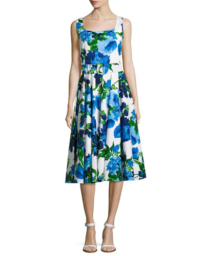 April Floral-Print Sleeveless Dress, Blue/Multi