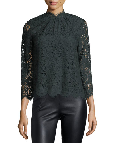 Freyda Mock-Neck Lace Top