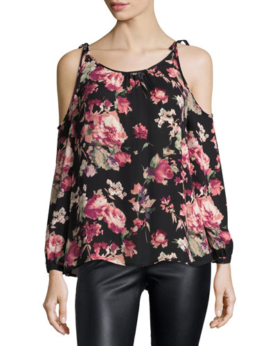 Jilette Long-Sleeve Floral-Print Silk Top