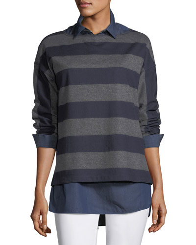 Bateau-Neck Striped Wool Jersey Pullover