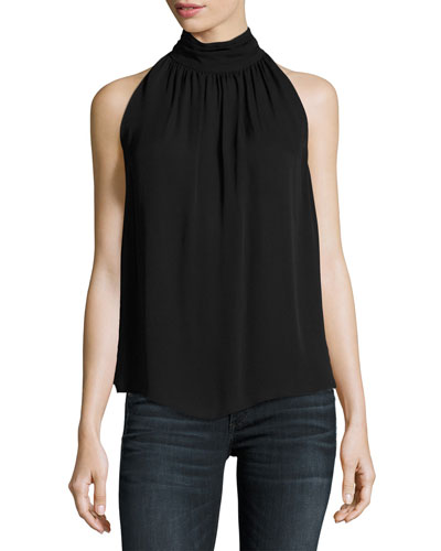 Erola Sleeveless Silk Top, Black