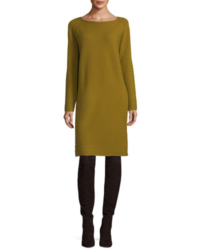 Cozy Rib-Knit Flannel Sweaterdress