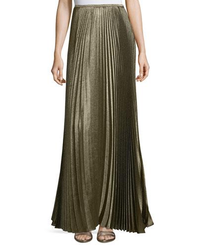 Florianna Bijoux Pleated Metallic Maxi Skirt