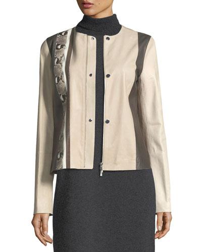 Bridgin Colorblocked Leather Jacket