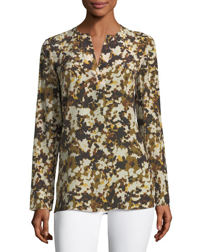 Zalina Long-Sleeve Earthen Texture Silk Blouse
