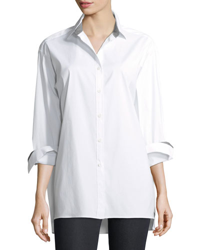 Jessie Long-Sleeve Stretch-Cotton Blouse