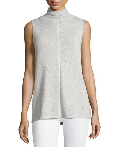 Vanise Sleeveless Mock-Neck Cashmere Sweater