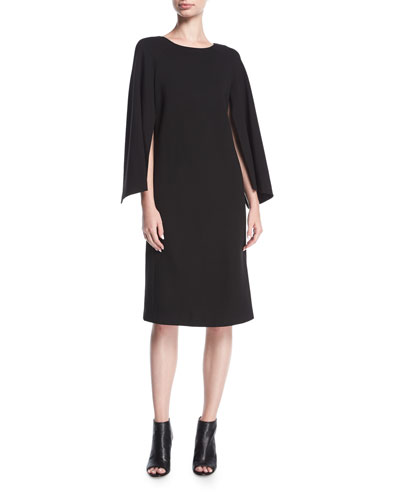 Punto Milano Split-Sleeve Shift Dress