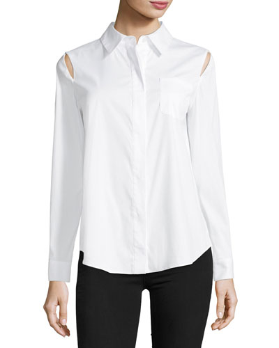 Long-Sleeve Button-Front Slit-Shoulder Shirt