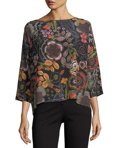 3/4-Sleeve Floral Silk Top