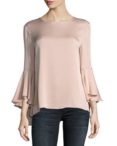 Long Bell-Sleeve Stretch-Silk Blouse