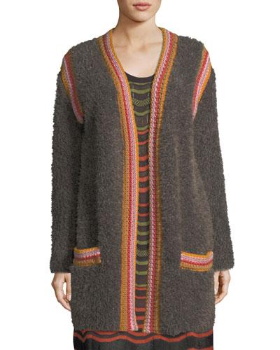 Crochet-Trim Faux-Fur Knit Jacket