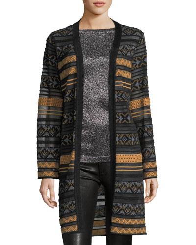 Long Semisheer Chenille Ribbon Knit Cardigan