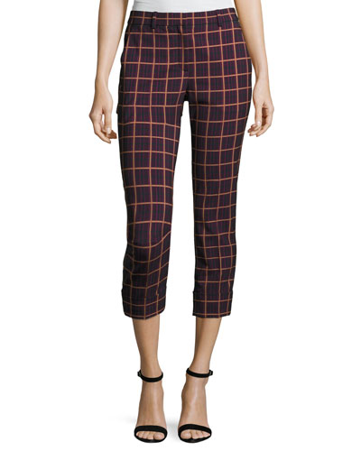 Crop Cuff York Plaid Pants, Purple
