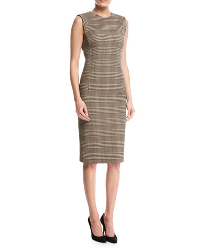 Power Plaid Sheath Dress, Beige Multi