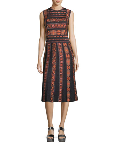 Sleeveless Ribbon Jacquard Knit A-Line Dress