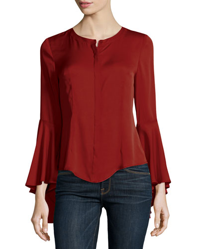 Michelle Bell-Sleeve Stretch-Silk Blouse
