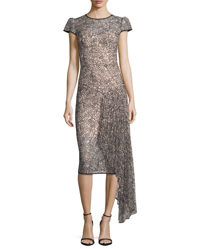 Margaret Short-Sleeve Corded Lace Cocktail Dress