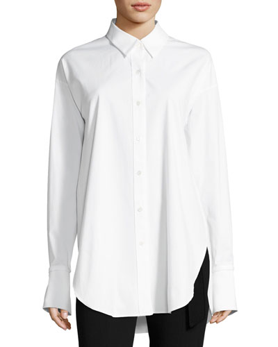 Poplin Long-Sleeve Boy Tunic, White