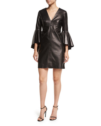 Nicole Bell-Sleeve Lightweight Leather Mini Cocktail Dress