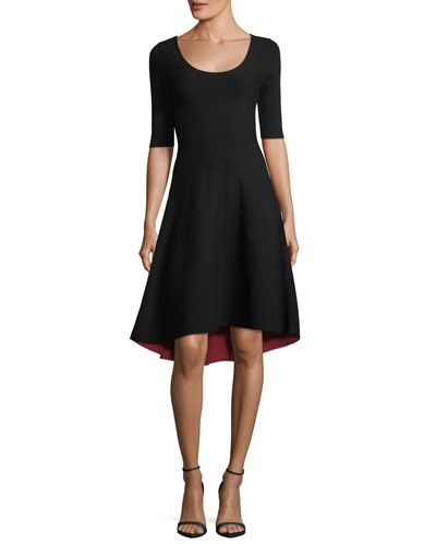 Half-Sleeve Reversible High-low Dress