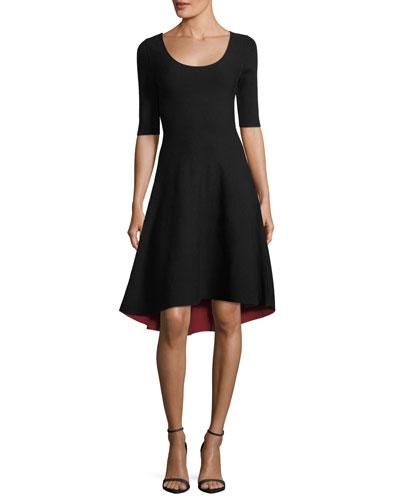 Half-Sleeve Reversible High-low Dress