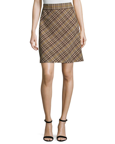High-Waist Bexley Plaid Mini Skirt, Brown Multi