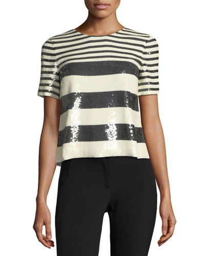 Striped Sequin Boxy Crewneck Tee