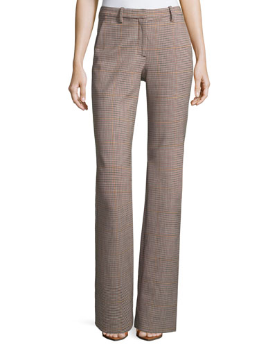 Demitria 2 Check Stretch-Wool Flared Pants