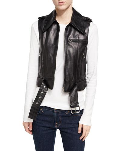 Sleeveless Motorcycle Jacket, Black