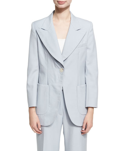 Single Breasted Wool Jacket, Blue