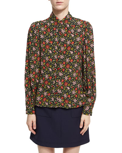 Pointed Collar Floral Silk Shirt, Black