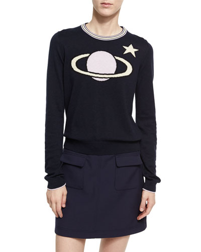 Planet Intarsia Crew Neck Sweater, Dark Blue