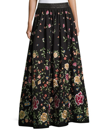 Tina Embroidered Long Ball-Gown Skirt