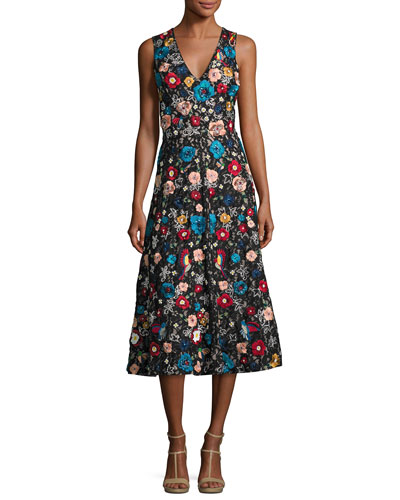 Nicolette V-Neck Embroidered Flared Midi Cocktail Dress