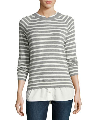 Zaan Striped Sweater-Shirt Combo Top