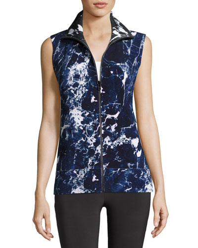 Sleeveless Reversible Marble-Printed Turtle Jacket