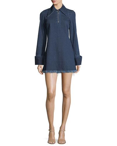 Janis Fringed Denim Shirtdress