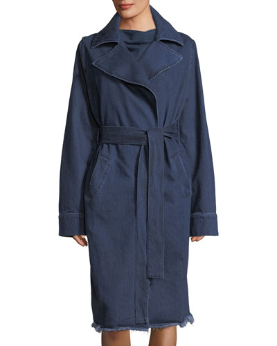 Belted Denim Trenchcoat